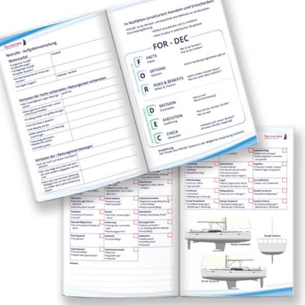 Logbuch für Segler, Eintragungen, nautische Seiten, Yachtübernahme, FOR-DEC